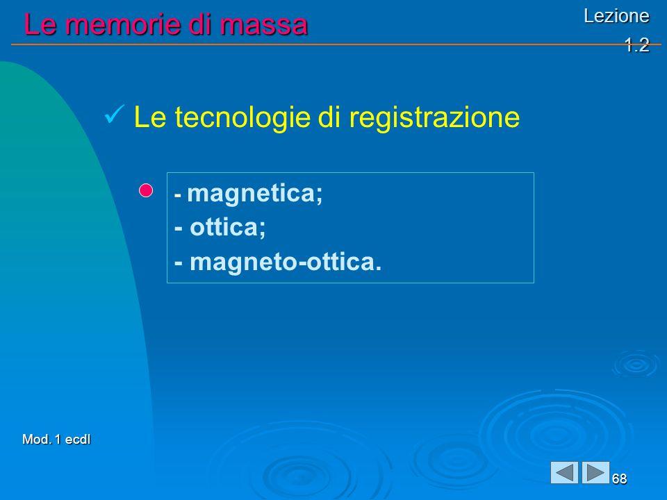 Lezione 1.2 Le memorie di massa 68 - magnetica; - ottica; - magneto-ottica. Le tecnologie di registrazione Mod. 1 ecdl
