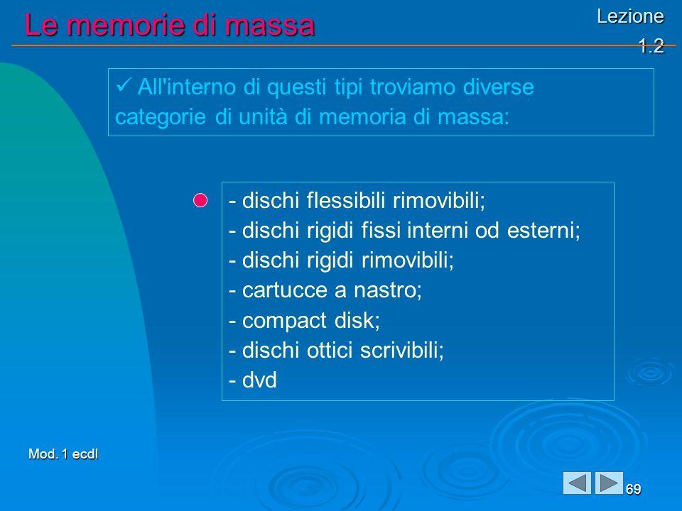 Lezione 1.2 Le memorie di massa 69 - dischi flessibili rimovibili; - dischi rigidi fissi interni od esterni; - dischi rigidi rimovibili; - cartucce a nastro; - compact disk; - dischi ottici scrivibili; - dvd All interno di questi tipi troviamo diverse categorie di unità di memoria di massa: Mod.