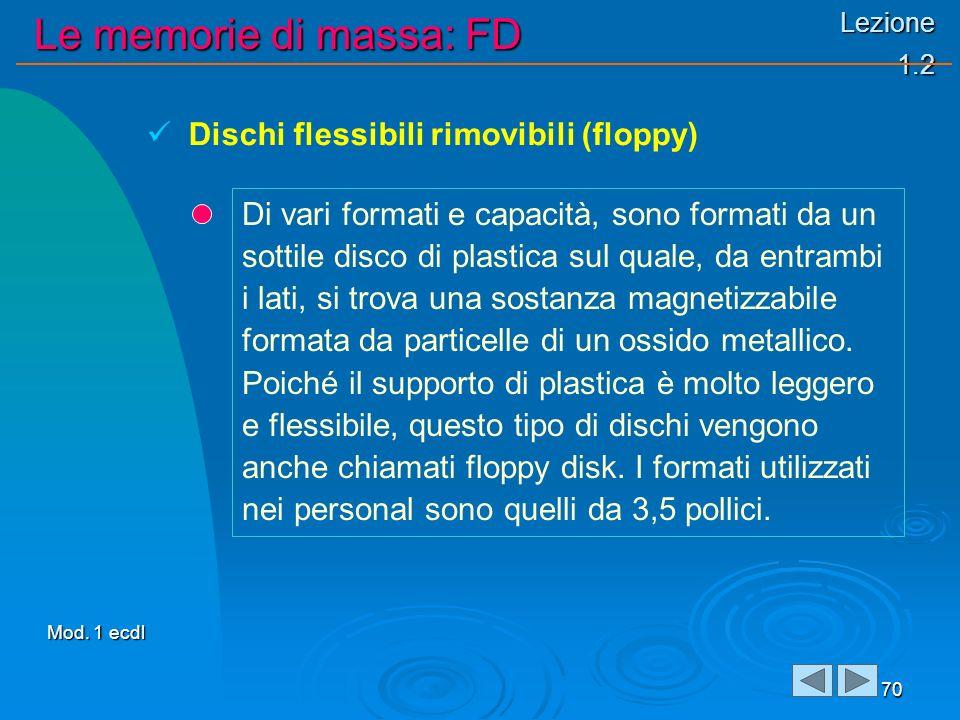 Lezione 1.2 Le memorie di massa: FD 70 Di vari formati e capacità, sono formati da un sottile disco di plastica sul quale, da entrambi i lati, si trova una sostanza magnetizzabile formata da particelle di un ossido metallico.
