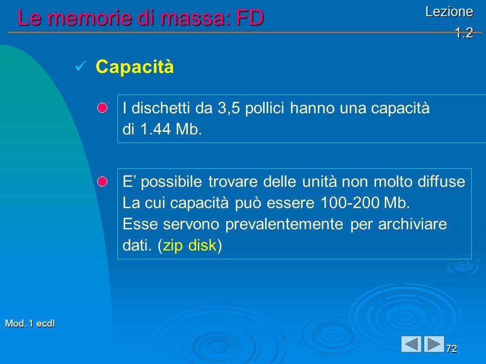 Lezione 1.2 Le memorie di massa: FD 72 I dischetti da 3,5 pollici hanno una capacità di 1.44 Mb. Capacità E possibile trovare delle unità non molto di
