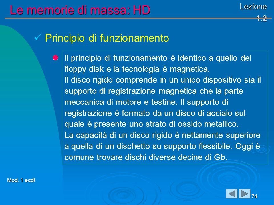 Lezione 1.2 Le memorie di massa: HD 74 Il principio di funzionamento è identico a quello dei floppy disk e la tecnologia è magnetica. Il disco rigido