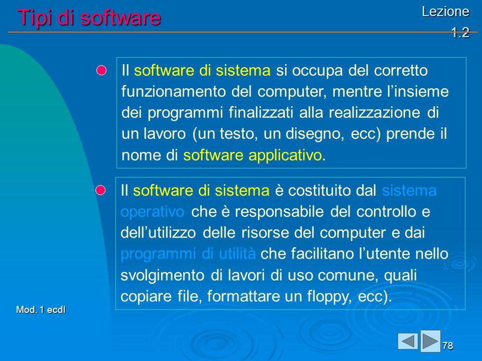 Lezione 1.2 Tipi di software 78 Il software di sistema si occupa del corretto funzionamento del computer, mentre linsieme dei programmi finalizzati alla realizzazione di un lavoro (un testo, un disegno, ecc) prende il nome di software applicativo.