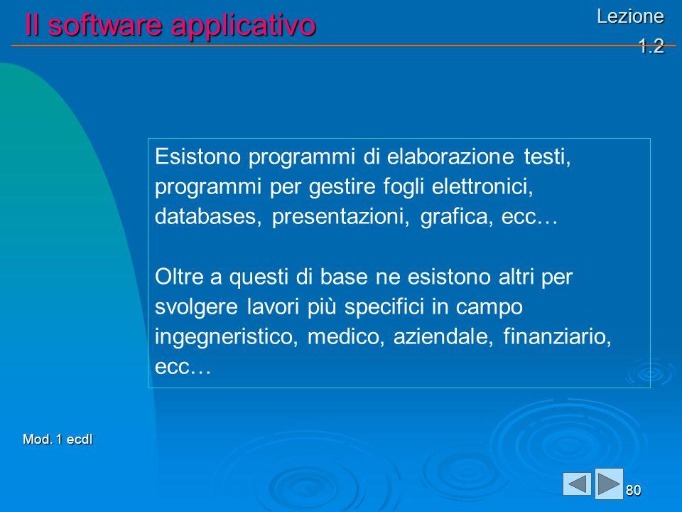 Lezione 1.2 Il software applicativo 80 Esistono programmi di elaborazione testi, programmi per gestire fogli elettronici, databases, presentazioni, gr