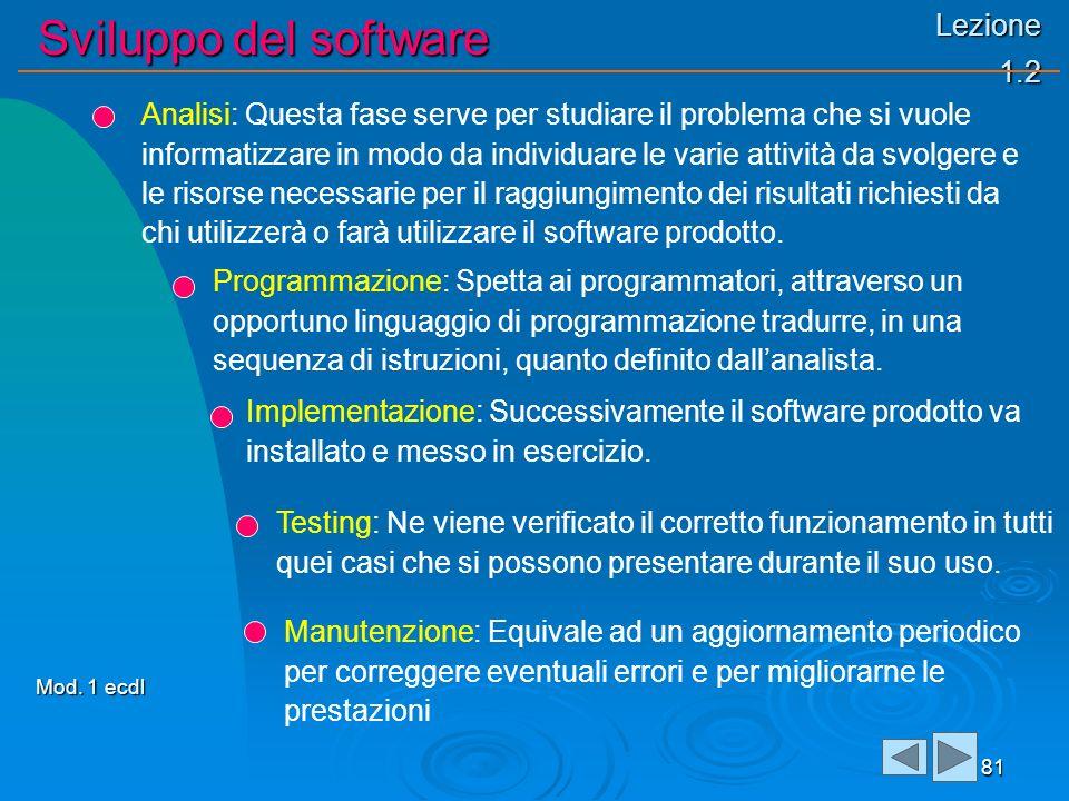 Lezione 1.2 Sviluppo del software 81 Analisi: Questa fase serve per studiare il problema che si vuole informatizzare in modo da individuare le varie a