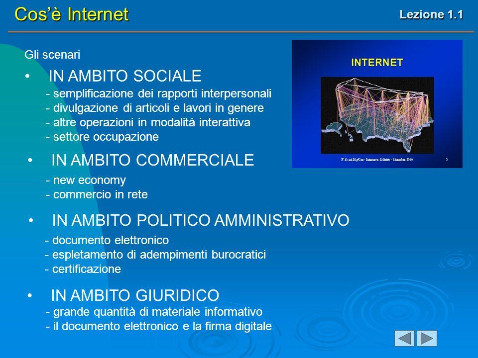 Lezione 1.1 Cosè Internet Gli scenari IN AMBITO SOCIALE IN AMBITO COMMERCIALE IN AMBITO POLITICO AMMINISTRATIVO - semplificazione dei rapporti interpersonali - divulgazione di articoli e lavori in genere - altre operazioni in modalità interattiva - settore occupazione - new economy - commercio in rete - documento elettronico - espletamento di adempimenti burocratici - certificazione IN AMBITO GIURIDICO - grande quantità di materiale informativo - il documento elettronico e la firma digitale