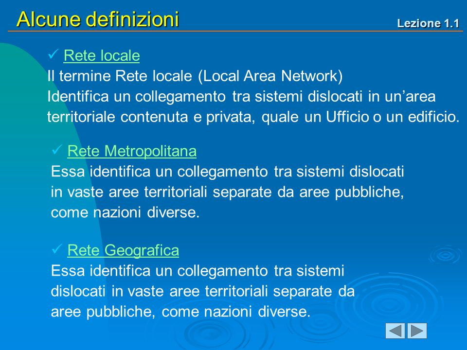 Lezione 1.1 Alcune definizioni Rete locale Il termine Rete locale (Local Area Network) Identifica un collegamento tra sistemi dislocati in unarea territoriale contenuta e privata, quale un Ufficio o un edificio.