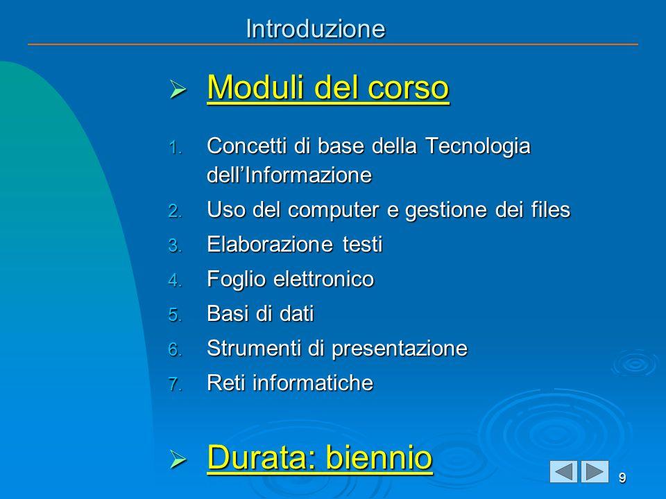 Introduzione Moduli del corso Moduli del corso 1. Concetti di base della Tecnologia dellInformazione 2. Uso del computer e gestione dei files 3. Elabo