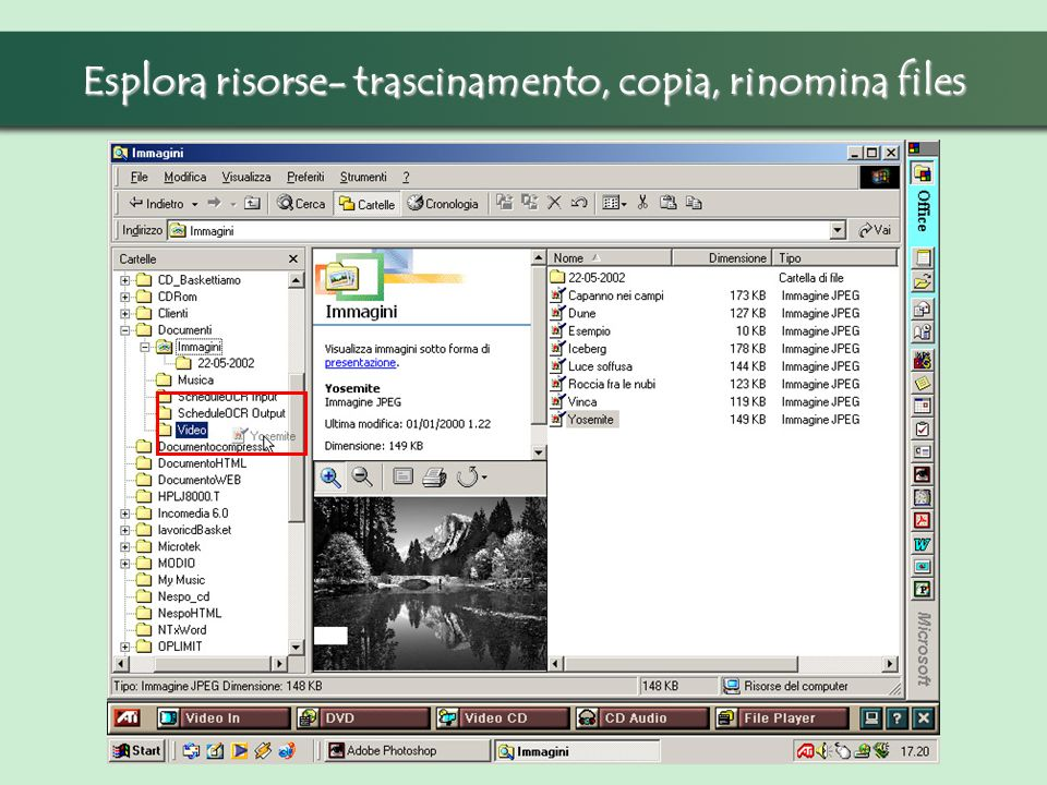 Esplora risorse- trascinamento, copia, rinomina files