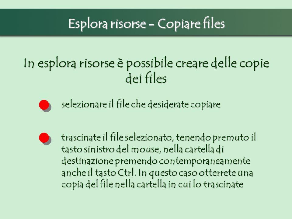 Esplora risorse - Copiare files In esplora risorse è possibile creare delle copie dei files selezionare il file che desiderate copiare trascinate il file selezionato, tenendo premuto il tasto sinistro del mouse, nella cartella di destinazione premendo contemporaneamente anche il tasto Ctrl.