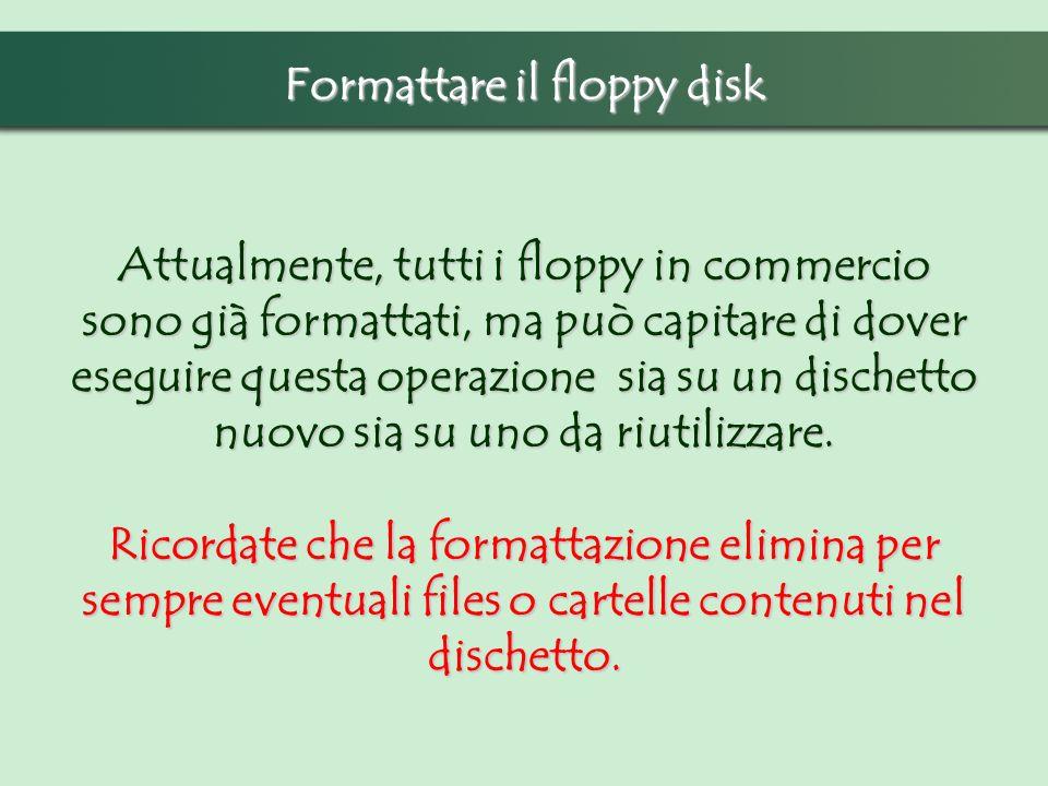 Formattare il floppy disk Attualmente, tutti i floppy in commercio sono già formattati, ma può capitare di dover eseguire questa operazione sia su un dischetto nuovo sia su uno da riutilizzare.