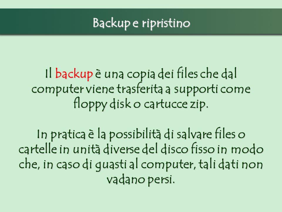 Backup e ripristino Il backup è una copia dei files che dal computer viene trasferita a supporti come floppy disk o cartucce zip.