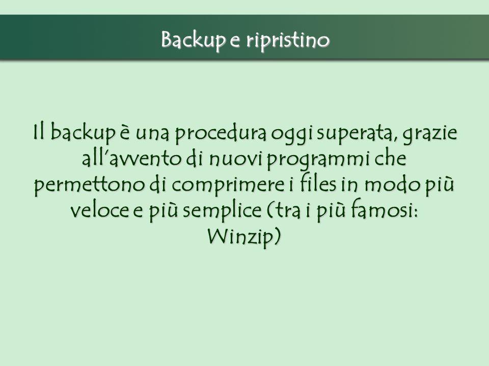 Il backup è una procedura oggi superata, grazie allavvento di nuovi programmi che permettono di comprimere i files in modo più veloce e più semplice (tra i più famosi: Winzip) Backup e ripristino