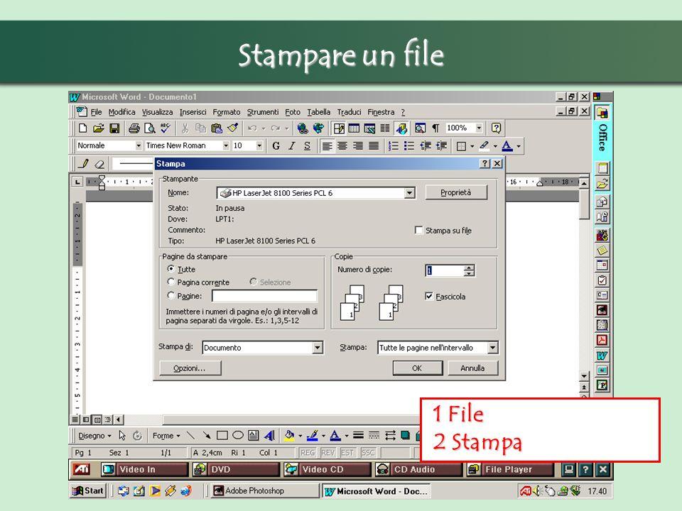 Stampare un file 1 File 1 File 2 Stampa 2 Stampa