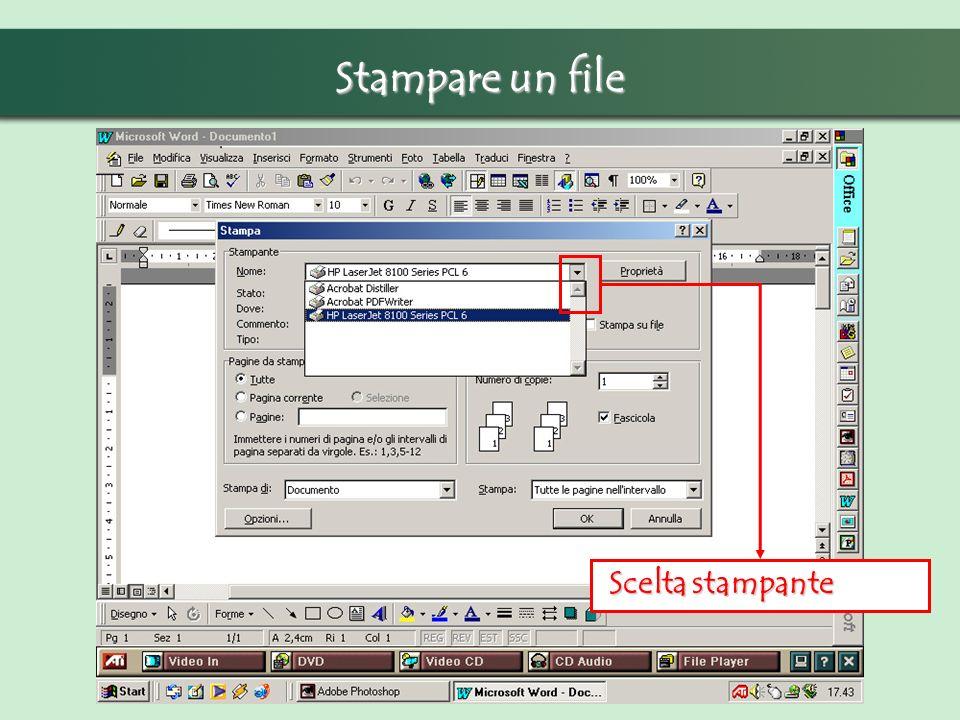 Scelta stampante Scelta stampante Stampare un file