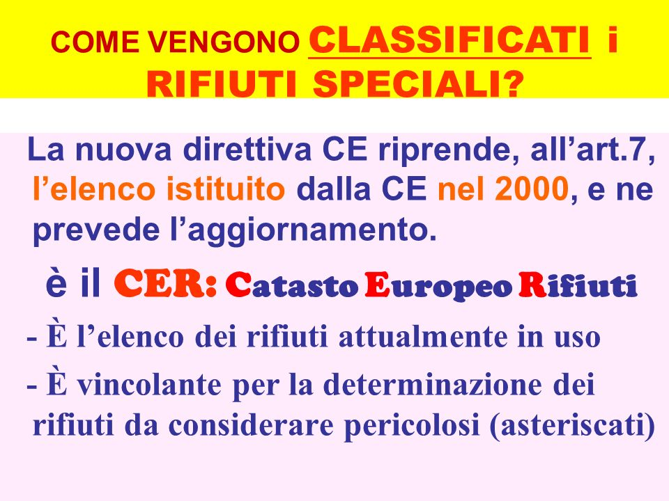 La nuova direttiva CE riprende, allart.7, lelenco istituito dalla CE nel 2000, e ne prevede laggiornamento. è il CER: C atasto E uropeo R ifiuti - È l