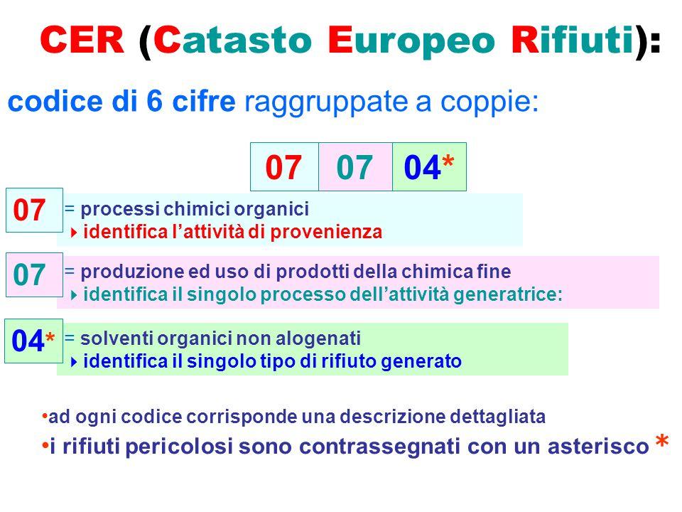 CER (Catasto Europeo Rifiuti): codice di 6 cifre raggruppate a coppie: 04*07 = processi chimici organici identifica lattività di provenienza = produzi