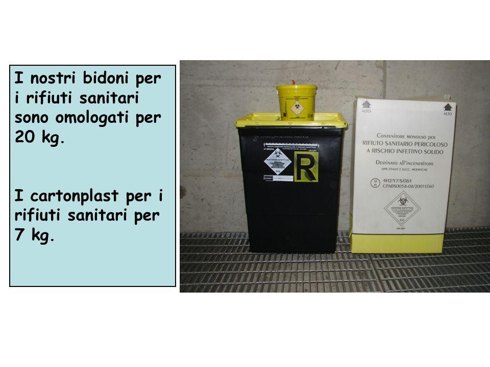 I nostri bidoni per i rifiuti sanitari sono omologati per 20 kg. I cartonplast per i rifiuti sanitari per 7 kg.
