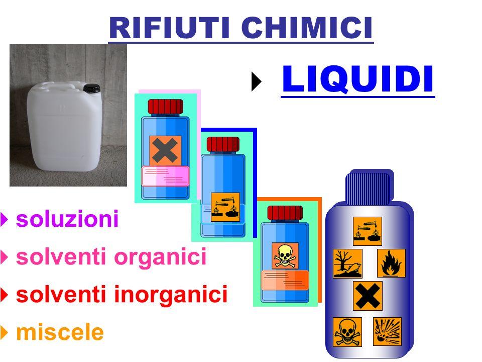 soluzioni solventi organici solventi inorganici miscele RIFIUTI CHIMICI LIQUIDI