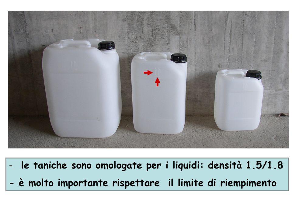 - le taniche sono omologate per i liquidi: densità 1.5/1.8 - è molto importante rispettare il limite di riempimento