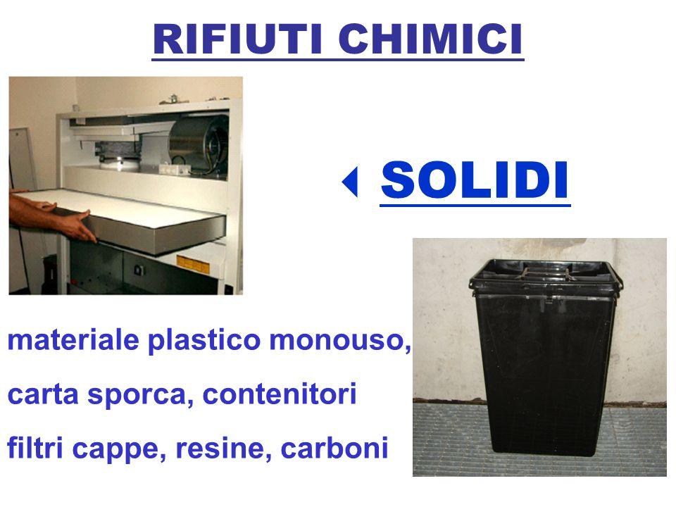 RIFIUTI CHIMICI SOLIDI materiale plastico monouso, carta sporca, contenitori filtri cappe, resine, carboni