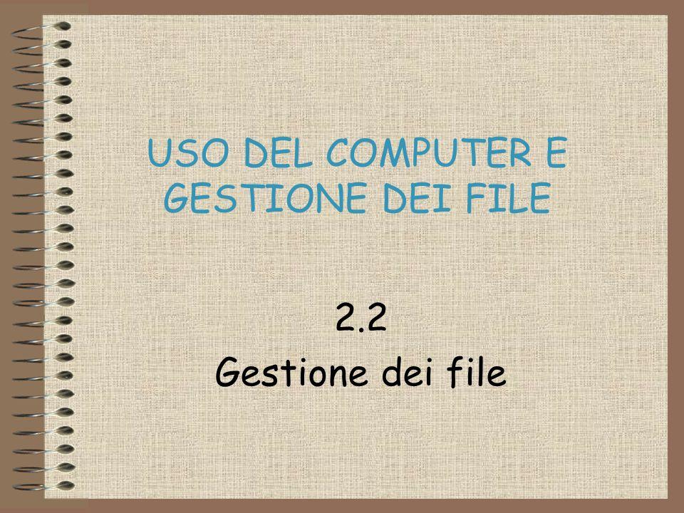 USO DEL COMPUTER E GESTIONE DEI FILE 2.2 Gestione dei file
