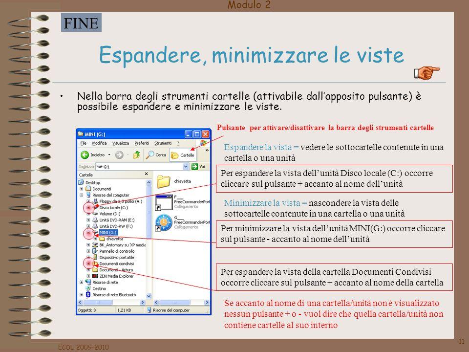 Modulo 2 FINE ECDL 2009-2010 11 Espandere, minimizzare le viste Nella barra degli strumenti cartelle (attivabile dallapposito pulsante) è possibile es
