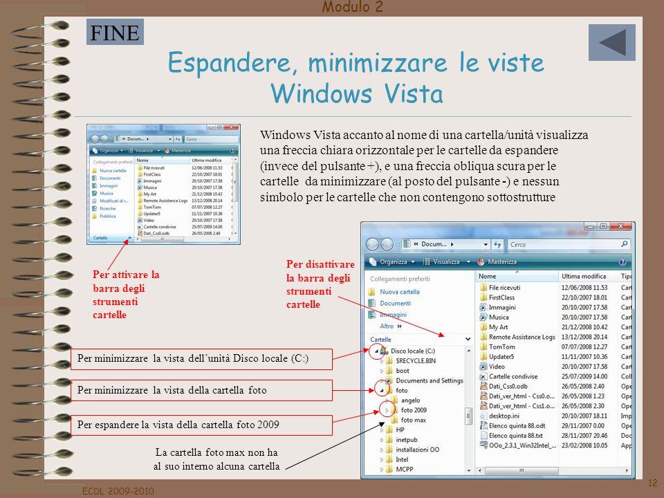 Modulo 2 FINE ECDL 2009-2010 12 Espandere, minimizzare le viste Windows Vista Per attivare la barra degli strumenti cartelle Per disattivare la barra