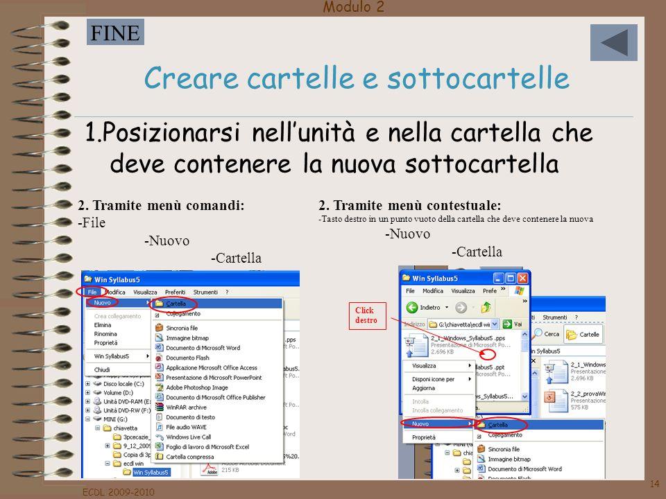 Modulo 2 FINE ECDL 2009-2010 14 Creare cartelle e sottocartelle 1.Posizionarsi nellunità e nella cartella che deve contenere la nuova sottocartella 2.