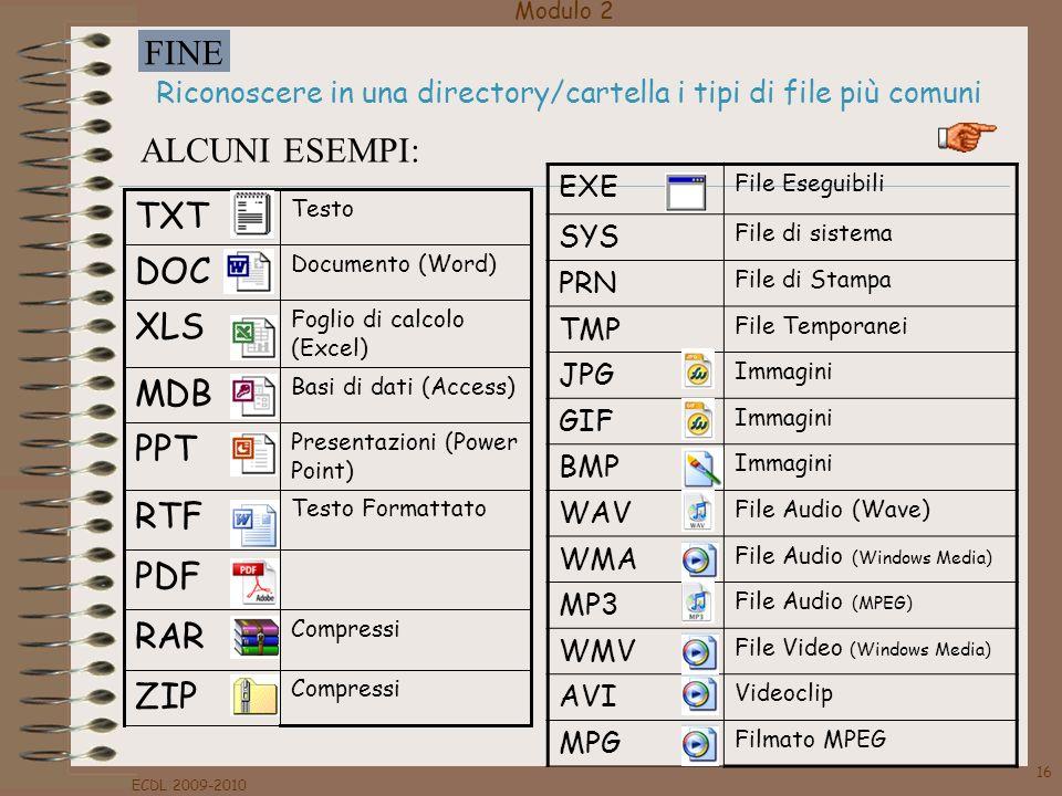 Modulo 2 FINE ECDL 2009-2010 16 Riconoscere in una directory/cartella i tipi di file più comuni EXE File Eseguibili SYS File di sistema PRN File di St