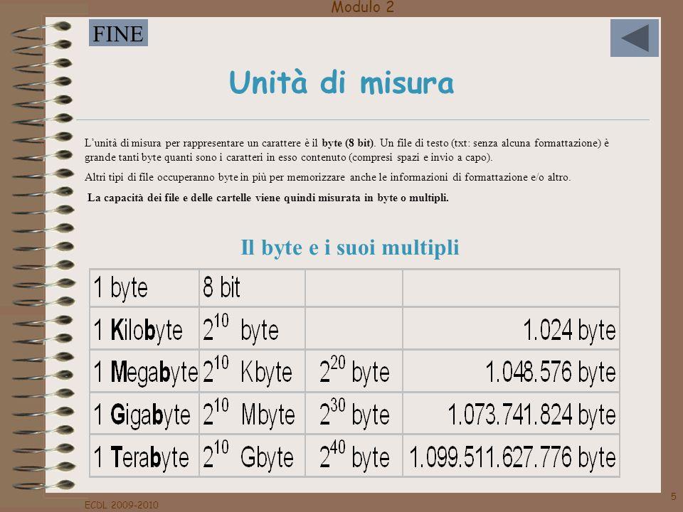 Modulo 2 FINE ECDL 2009-2010 5 Unità di misura Il byte e i suoi multipli Lunità di misura per rappresentare un carattere è il byte (8 bit). Un file di