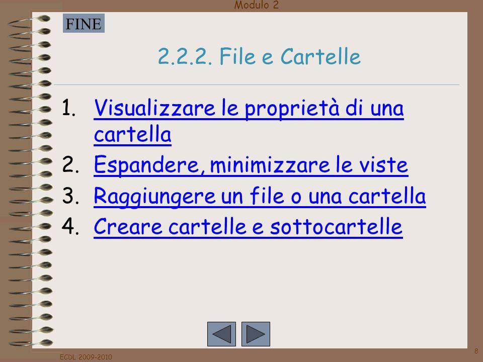 Modulo 2 FINE ECDL 2009-2010 8 2.2.2. File e Cartelle 1.Visualizzare le proprietà di una cartellaVisualizzare le proprietà di una cartella 2.Espandere