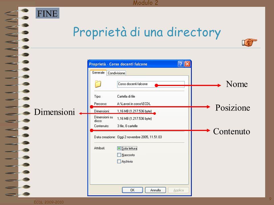 Modulo 2 FINE ECDL 2009-2010 9 Proprietà di una directory Posizione Dimensioni Nome Contenuto