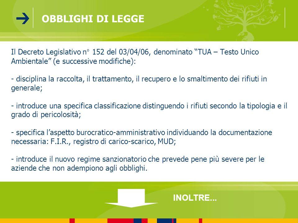 Il Decreto Legislativo n° 152 del 03/04/06, denominato TUA – Testo Unico Ambientale (e successive modifiche): - disciplina la raccolta, il trattamento