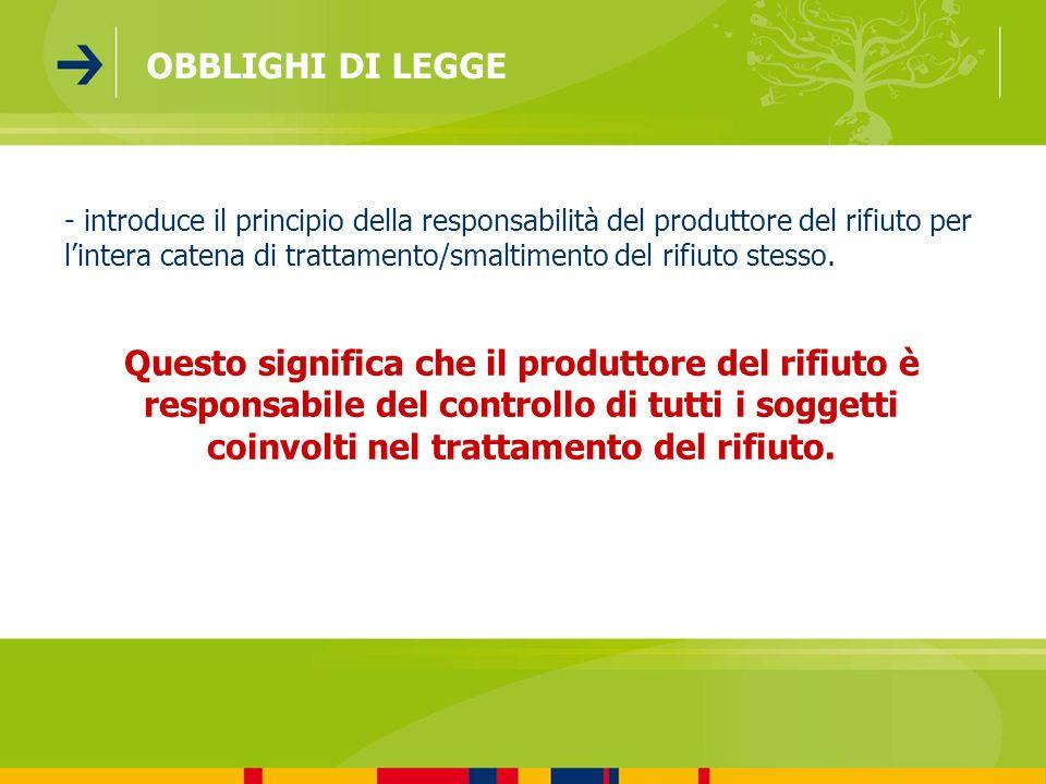 - introduce il principio della responsabilità del produttore del rifiuto per lintera catena di trattamento/smaltimento del rifiuto stesso. Questo sign