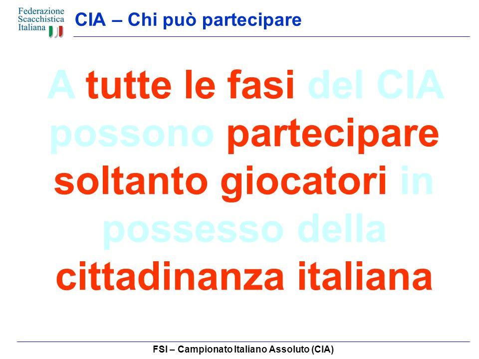 FSI – Campionato Italiano Assoluto (CIA) CIA – Campionati di Categoria I Campionati di Categoria conferiscono il titolo di Campione Italiano di Categoria ai primi classificati delle seguenti categorie: CM – 1N – 2N – 3N In base alle esigenze, lorganizzazione può decidere di accorpare uno o più tornei.