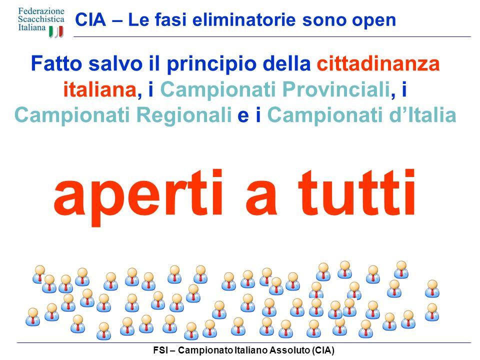 FSI – Campionato Italiano Assoluto (CIA) CIA – Campione Provinciale Ottiene il titolo di Campione Provinciale il primo classificato, tra i partecipanti al Campionato Provinciale, appartenente ad una Società della provincia di pertinenza del torneo.