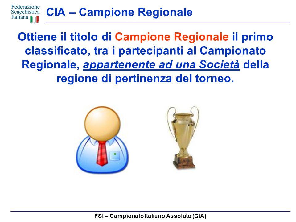 FSI – Campionato Italiano Assoluto (CIA) CIA – Campione Regionale Ottiene il titolo di Campione Regionale il primo classificato, tra i partecipanti al Campionato Regionale, appartenente ad una Società della regione di pertinenza del torneo.