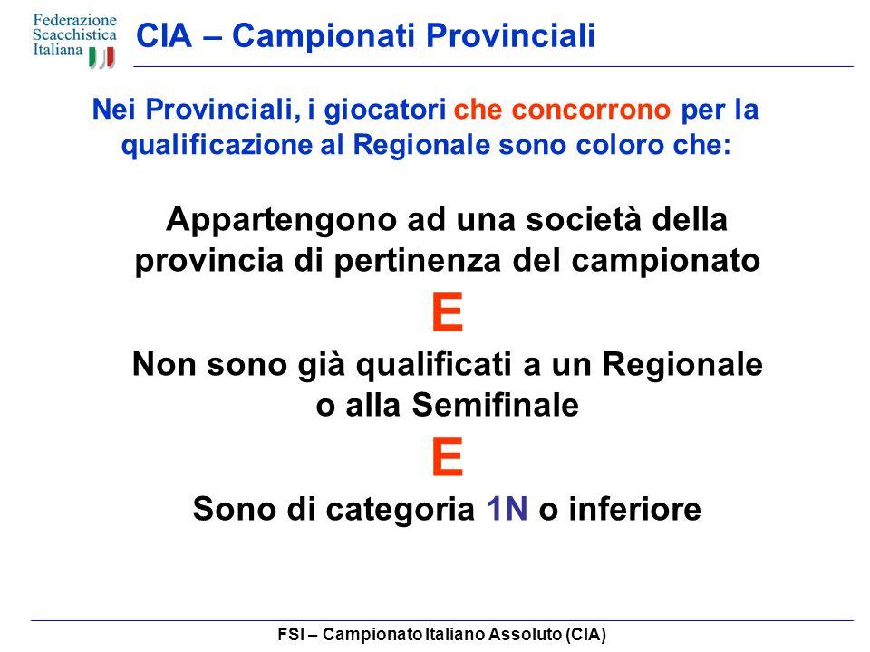 FSI – Campionato Italiano Assoluto (CIA) CIA – Campionati Provinciali Nei Provinciali, i giocatori che concorrono per la qualificazione al Regionale sono coloro che: Appartengono ad una società della provincia di pertinenza del campionato E Non sono già qualificati a un Regionale o alla Semifinale E Sono di categoria 1N o inferiore