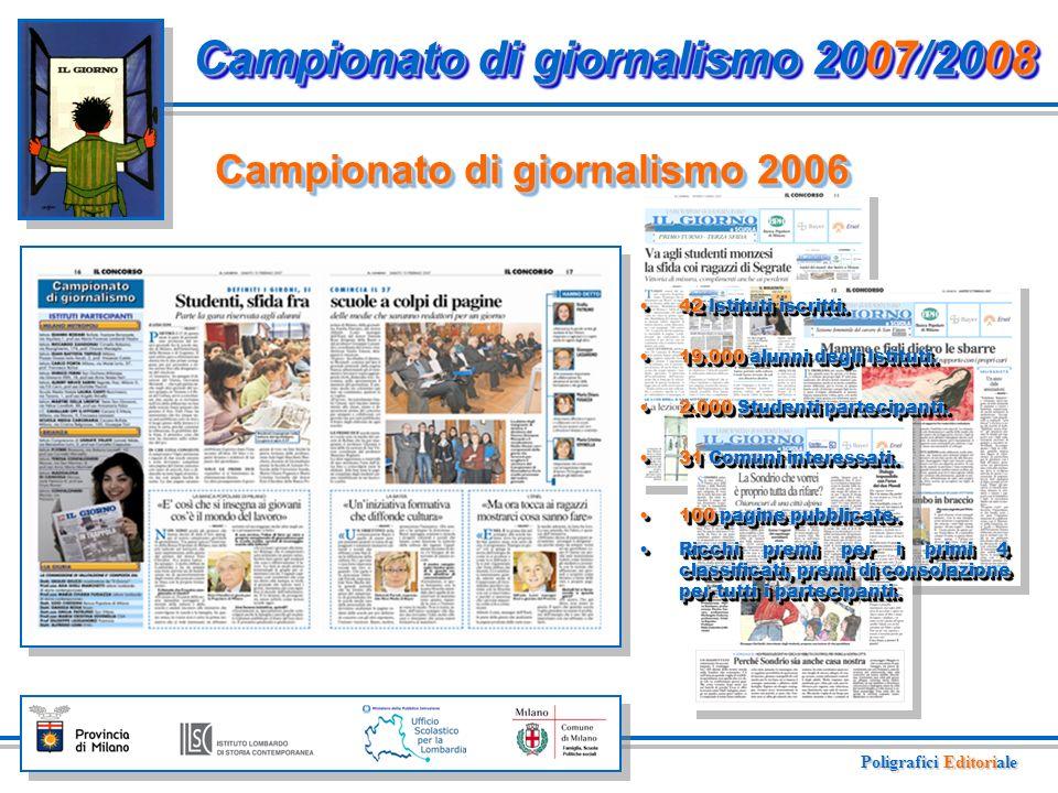 Campionato di giornalismo 2006 Campionato di giornalismo 2007/2008 42 Istituti iscritti.42 Istituti iscritti.
