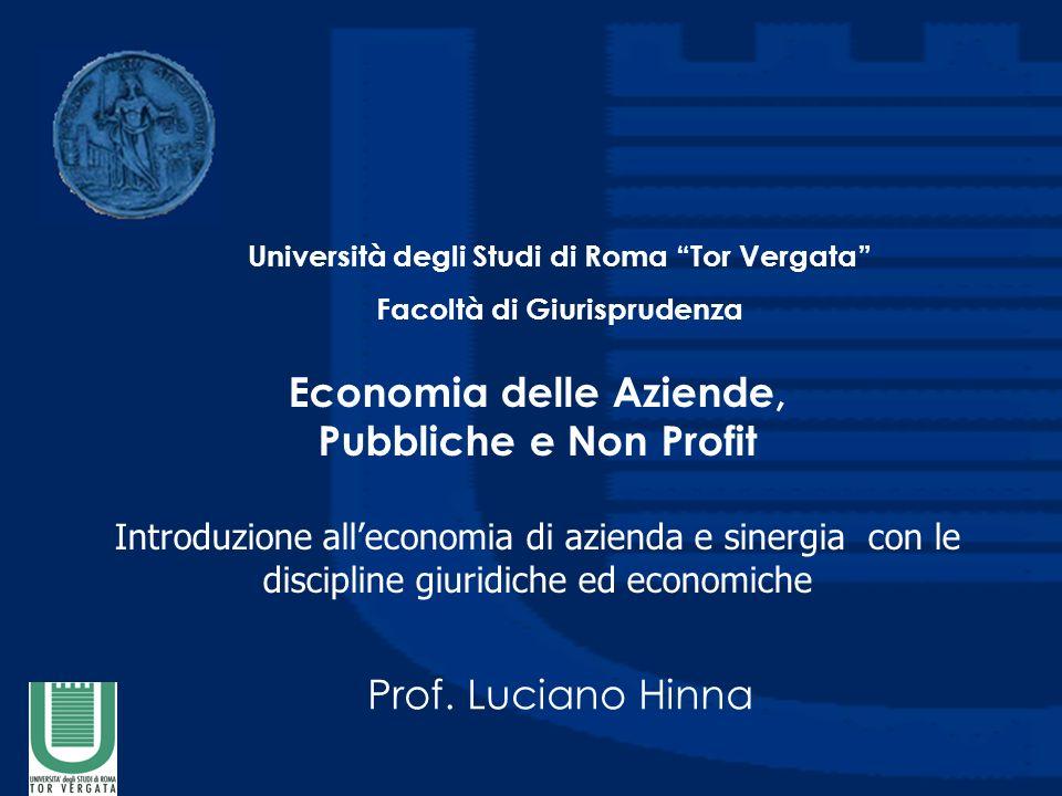 Economia delle Aziende, Pubbliche e Non Profit Introduzione alleconomia di azienda e sinergia con le discipline giuridiche ed economiche Prof.
