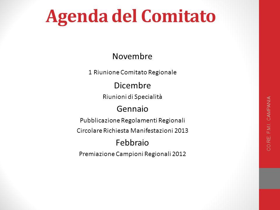 Agenda del Comitato Novembre 1 Riunione Comitato Regionale Dicembre Riunioni di Specialità Gennaio Pubblicazione Regolamenti Regionali Circolare Richiesta Manifestazioni 2013 Febbraio Premiazione Campioni Regionali 2012 CO.RE.