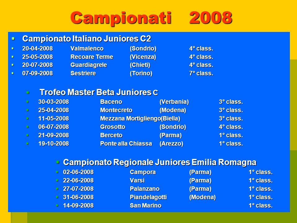 Campionati 2008 Campionato Italiano Juniores C2 Campionato Italiano Juniores C2 20-04-2008Valmalenco(Sondrio)4° class.