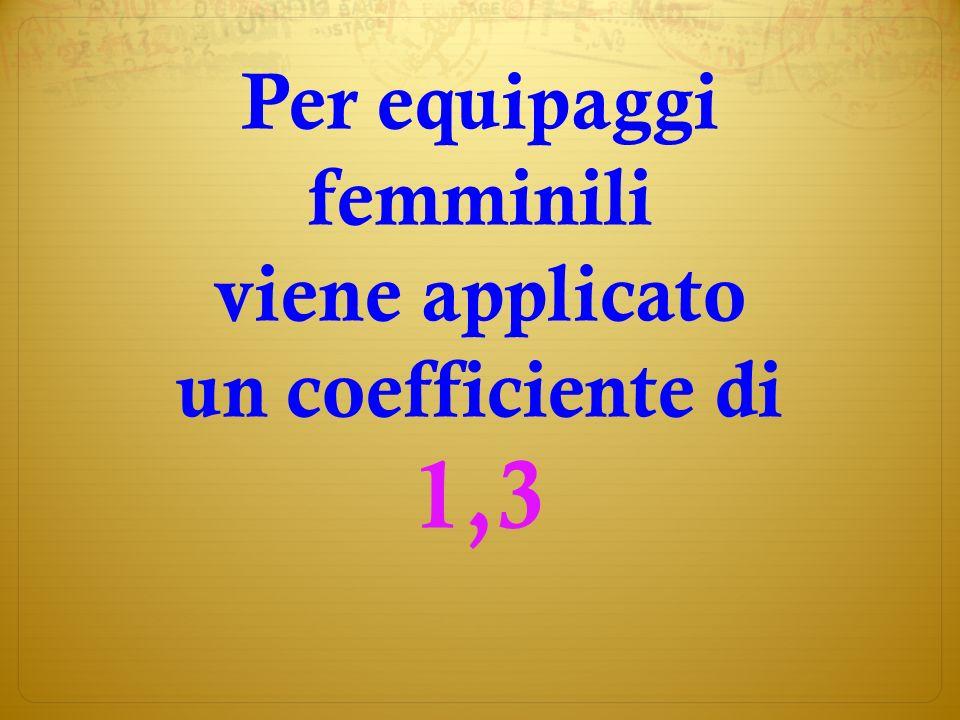 Per equipaggi femminili viene applicato un coefficiente di 1,3