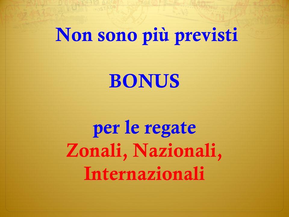 Non sono più previsti BONUS per le regate Zonali, Nazionali, Internazionali