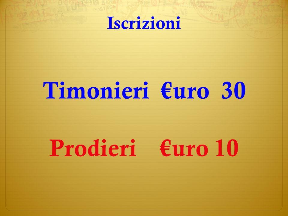 Iscrizioni Timonieri uro 30 Prodieri uro 10