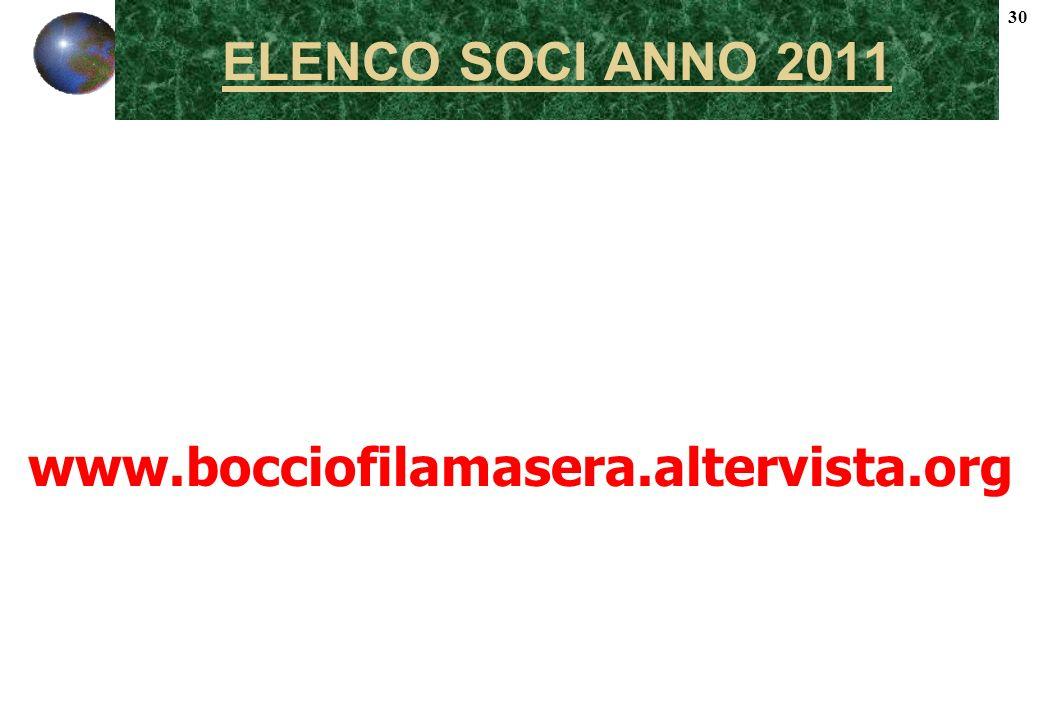 30 ELENCO SOCI ANNO 2011 www.bocciofilamasera.altervista.org