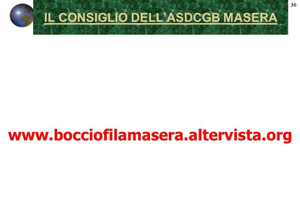 30 IL CONSIGLIO DELLASDCGB MASERA www.bocciofilamasera.altervista.org