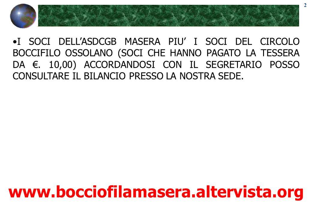 2 www.bocciofilamasera.altervista.org I SOCI DELLASDCGB MASERA PIU I SOCI DEL CIRCOLO BOCCIFILO OSSOLANO (SOCI CHE HANNO PAGATO LA TESSERA DA. 10,00)