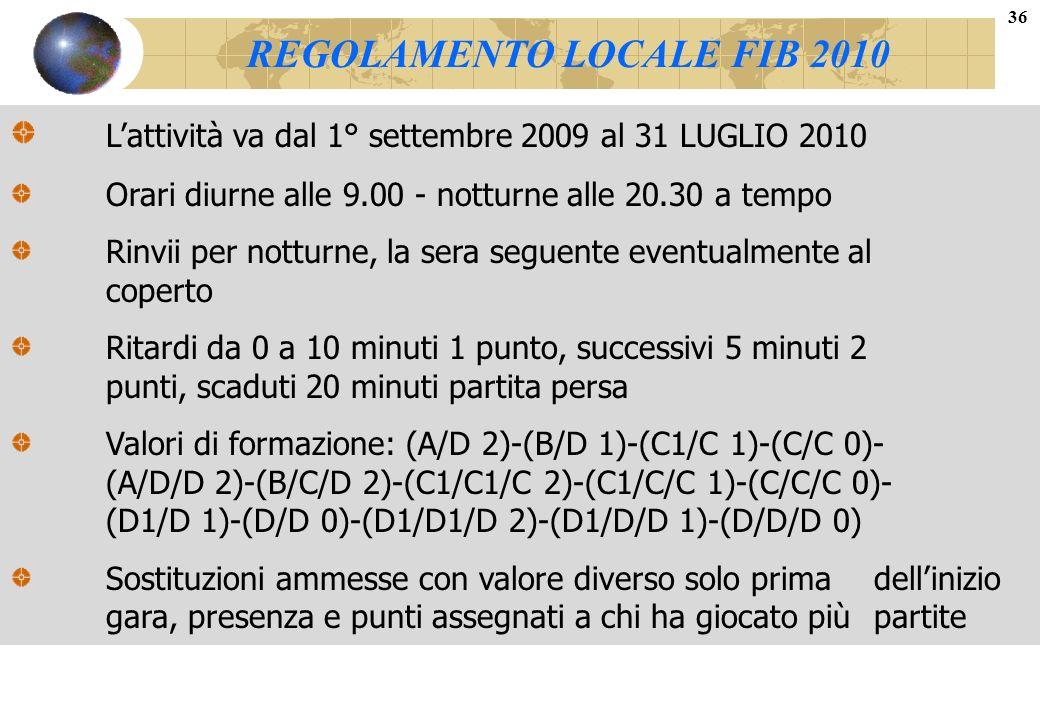 REGOLAMENTO LOCALE FIB 2010 Lattività va dal 1° settembre 2009 al 31 LUGLIO 2010 Orari diurne alle 9.00 - notturne alle 20.30 a tempo Rinvii per nottu