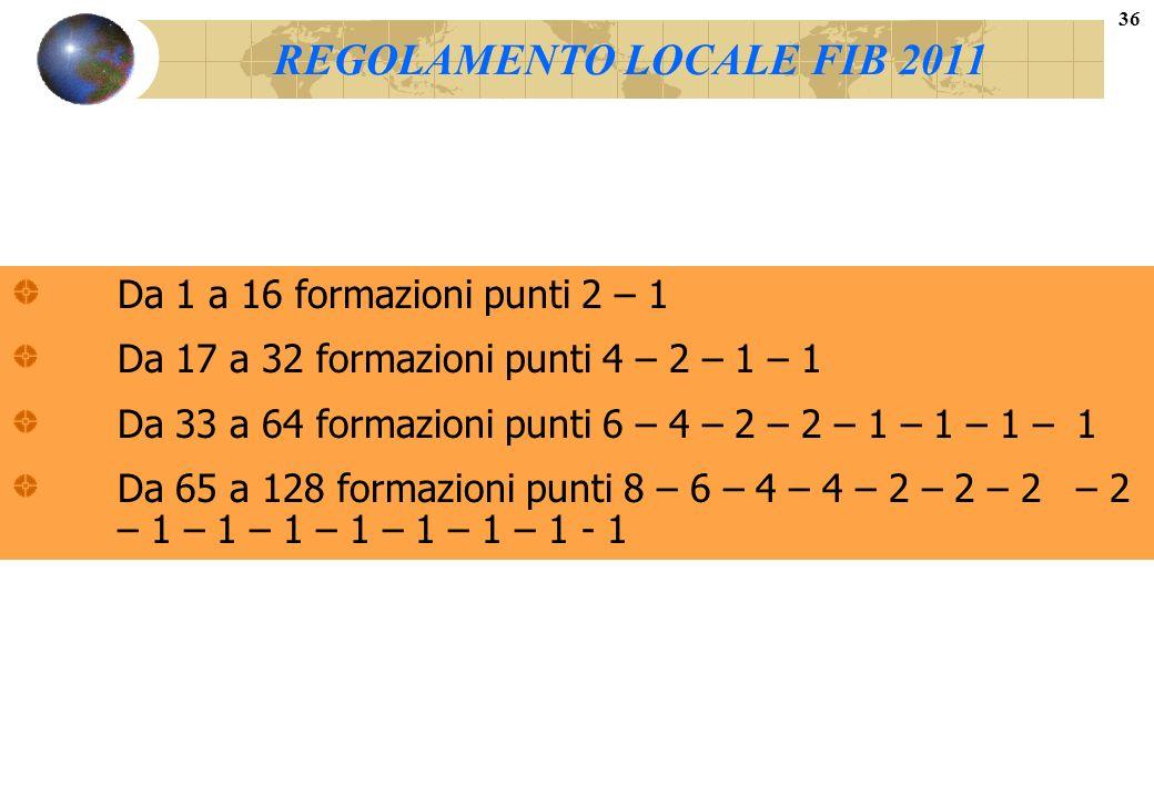 REGOLAMENTO LOCALE FIB 2011 Da 1 a 16 formazioni punti 2 – 1 Da 17 a 32 formazioni punti 4 – 2 – 1 – 1 Da 33 a 64 formazioni punti 6 – 4 – 2 – 2 – 1 –